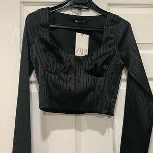 NWT Zara cropped black top